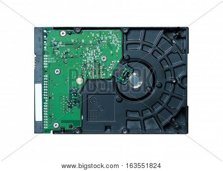 Internal computer hard disk drive isolated on white closeup