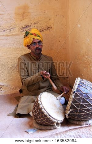 Jodhpur, India - February 11: An Unidentified Man Plays Drums In Mehrangarh Fort On February 11, 201