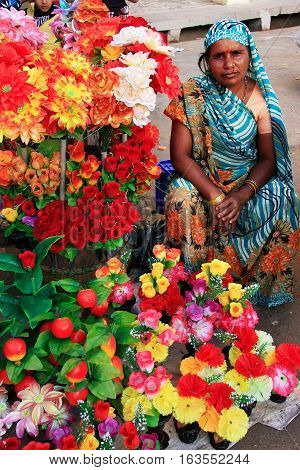 Jodhpur, India - February 11: An Unidentified Woman Sells Flowers At Sadar Market On February 11, 20