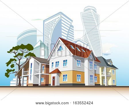 several houses and high-rise buildings, vector illustration