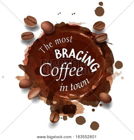Vector illustration of a coffee stain and coffee beans. Advertising Space.