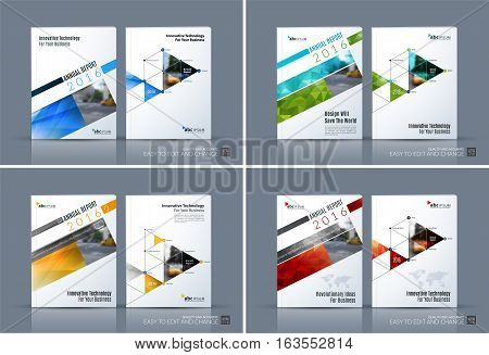 Business vector. Brochure template layout, cover design annual report, magazine, flyer in A4 with rectangular diagonal for PR, business, tech. Abstract art with overlay effect. Set
