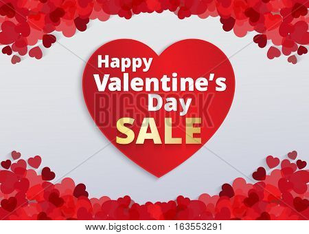 Valentine love card with red heart footer and sale text . Vector paper illustration.