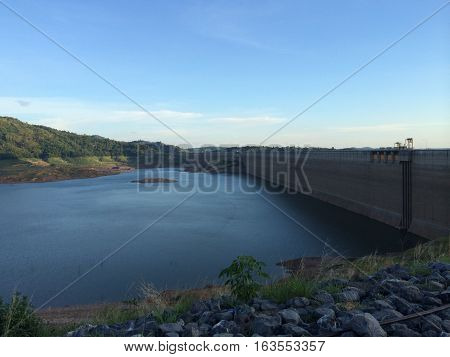View Of Water Dam with Mountain and lake for travel backgroud