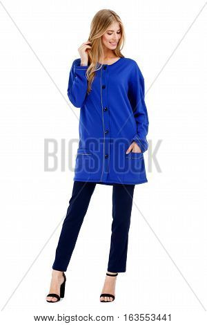 Studio fashion photo of young magnificent woman wearing fashionable summer clothes
