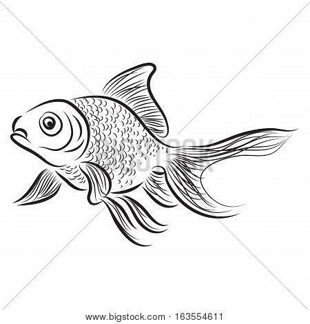 hand drawn a set of gold fish icon in black outline isolated on white background. vector illustration.