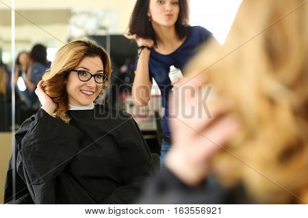 Beautiful Smiling Blonde Woman At Hairdresser