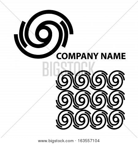 Black abstract logotype for your company. Hurricane. Pattern