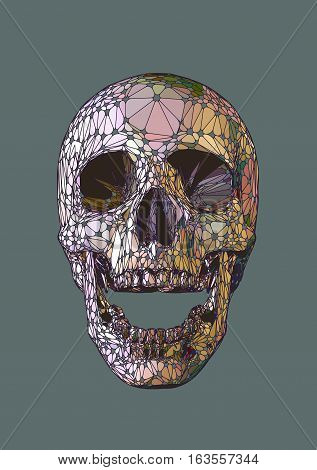 Skull open mouth in front view with iridescent pastel colors and cool element stylize