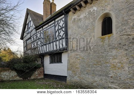 9th century Odda's Chapel & 17th century Timber Framed Abbot's Court Deerhurst Gloucestershire
