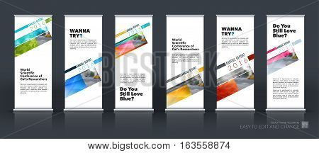 Abstract business vector set of modern roll Up Banner stand design template with rectangular diagonal for exhibition, fair, show, exposition, expo, presentation, festival, parade, events.
