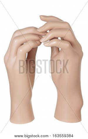 Pair of Mannequin Hands on White Background
