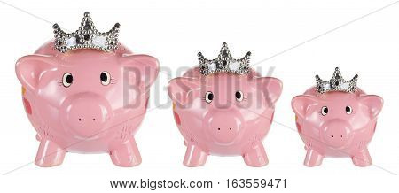 Piggy Banks with Crowns on White Background