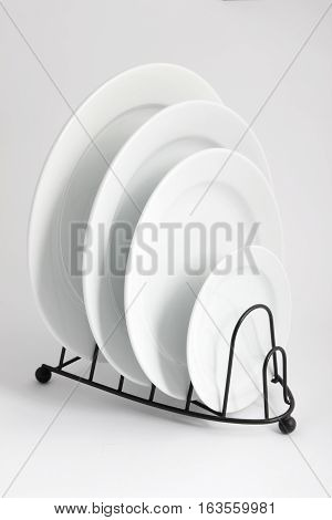 Stack of Plates on Isolated White Background