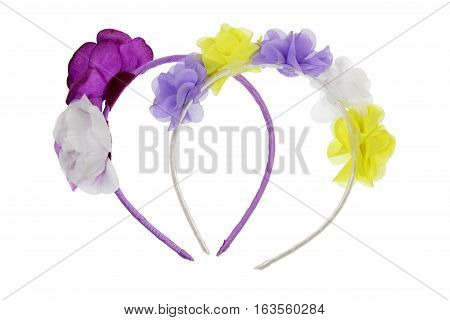 Girls Hair Bands on Isolated White Background
