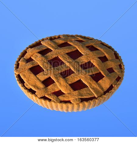Home made jam pie in cartoon 3d illustration clipart CG