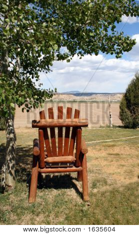 Lawn Chair Overlooking The Mountains
