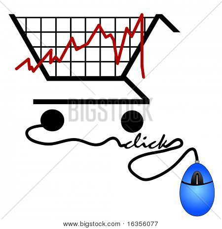 bar graph made out of a shopping cart - trends on the internet