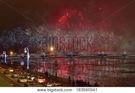 St.petersburg, Russia - December 30, 2016: Christmas Atmosphere In St. Petersburg. Pyrotechnic Show