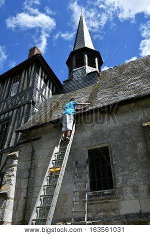 Sahurs France - june 22 2016 : slater on the Marbeuf manor