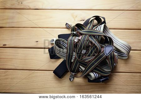 Pile of Braces on a Wood Background