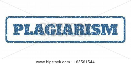Cobalt Blue rubber seal stamp with Plagiarism text. Vector tag inside rounded rectangular frame. Grunge design and scratched texture for watermark labels. Horisontal emblem on a white background.