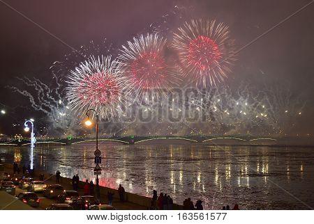 St.petersburg, Russia - December 30, 2016: Christmas Atmosphere In St. Petersburg. Pyrotechnic Show