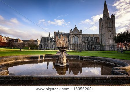 Saint Patrick's Cathedral in Dublin also known as The National Cathedral and Collegiate Church of Saint Patrick Dublin.
