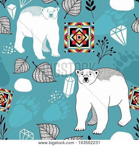 Seamless pattern with white polar bear. Vector textured illustration.