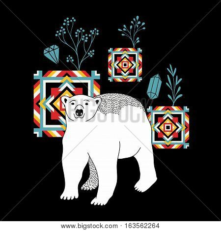 Decorative print with polar bear. Vector illustration in retro style.