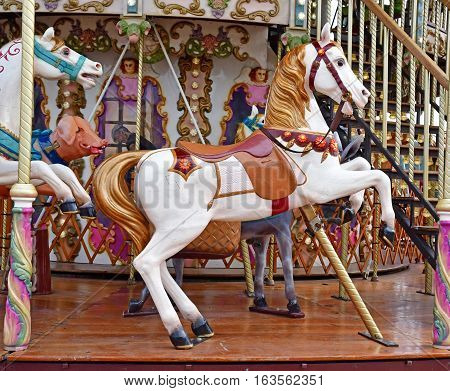 Honfleur France - august 18 2016 : the picturesque carousel