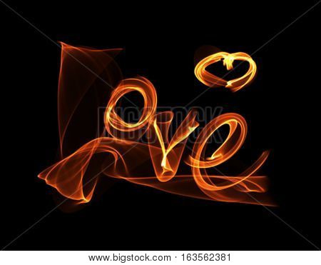 Love Isolated Word Lettering And Heart Written With Fire Flame Or Smoke On Black Background