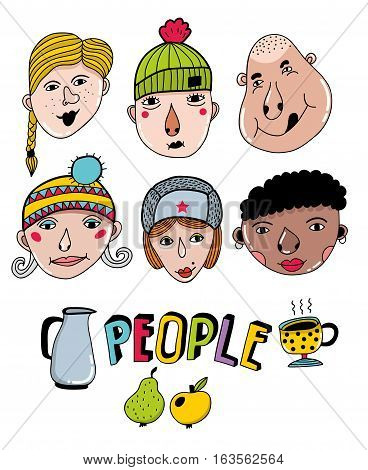 Set of hand drawn faces. Vector collection of portraits.