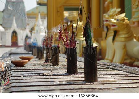 Incense Sticks Burning with Smoke at shwedagon pagoda, Yangon, Myanmar