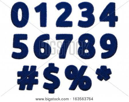 Blue fur numerals and symbols on white background. Isolated digital illustration. 3d rendering. poster