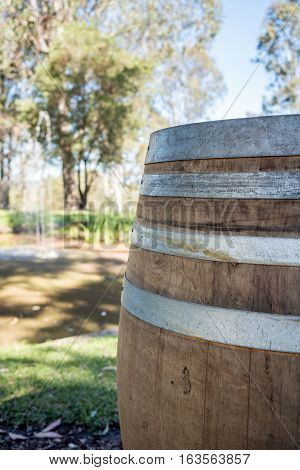 Wine barrel placed in a backyard setting lends a rustic countryside atmosphere to modern living.