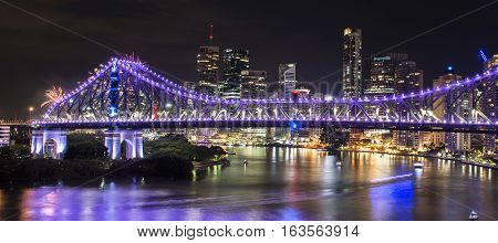 Story Bridge On New Years Eve 2016 In Brisbane