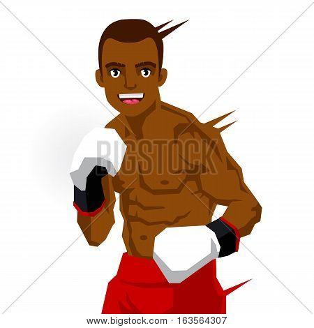 Cool black boxer. Vector illustration on white background. Sports concept.