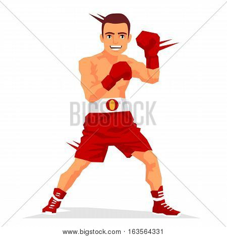 Cool boxer in the rack. Vector illustration on white background. Sports concept.