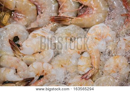 Close up of fresh banana prawn prepare for cooked in chinese restuarant.