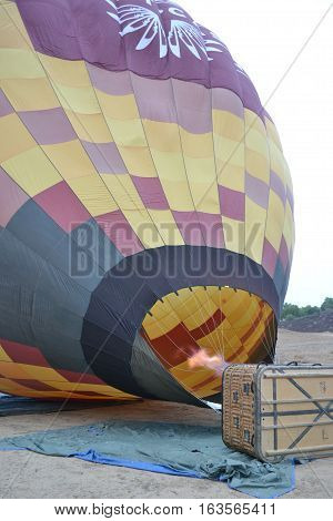 A hot air ballon being prepared to take people for a ride over the Temecula Valley