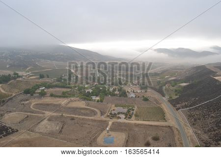 birds eye view of the Temecula wine Valley  in Southern California on a cloudy fall morning just after sunrise