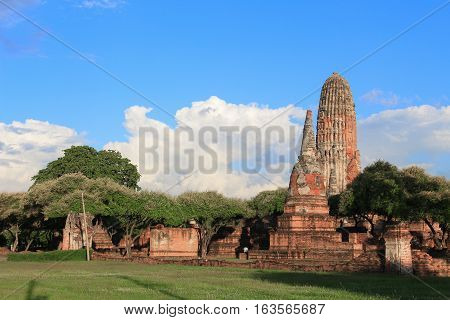 pagoda ancient famous in wat Phra Sri Sanphet beautiful Royal Palace in Ajutthaya travel Thailand