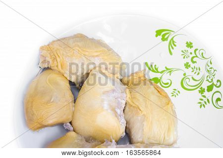 durian ripe meat yellow in plate tropical fruit on white background