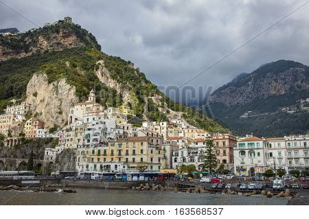 AMALFI ITALY - NOVEMBER 5 :tourist bus parking in car park of amalfi coast important traveling destination on november 5, 2016 in amalfi town south italy
