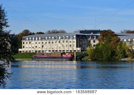 Meulan France - october 31 2016 : the Seine riverside