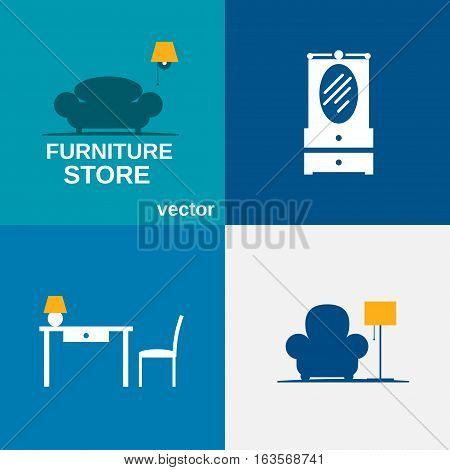 Miscellaneous furniture in flat vector illustration is fully editable.