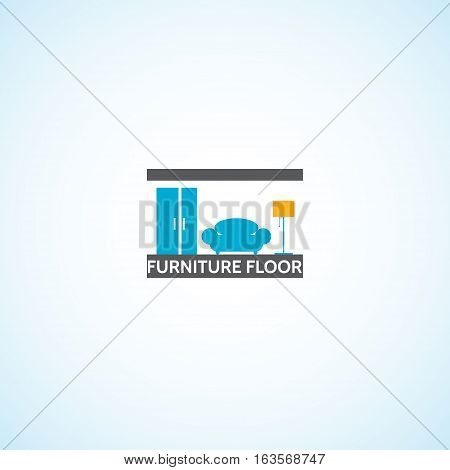 Logo on the theme of furniture. Fully editable image vector.