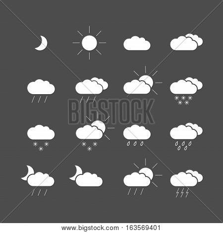 Set with different weather icons. Black and white color