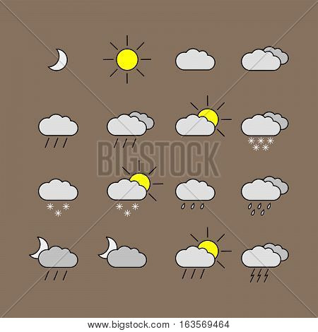 Set with different weather icons. In different color